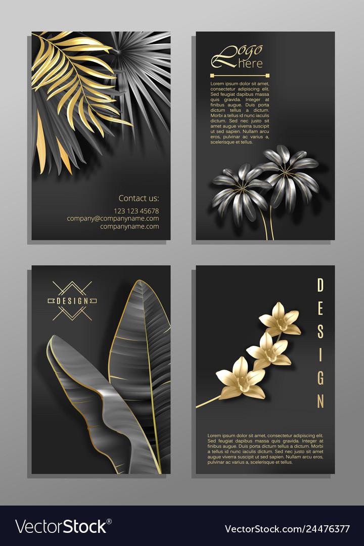 Set of 4 elegant brochure card background cover