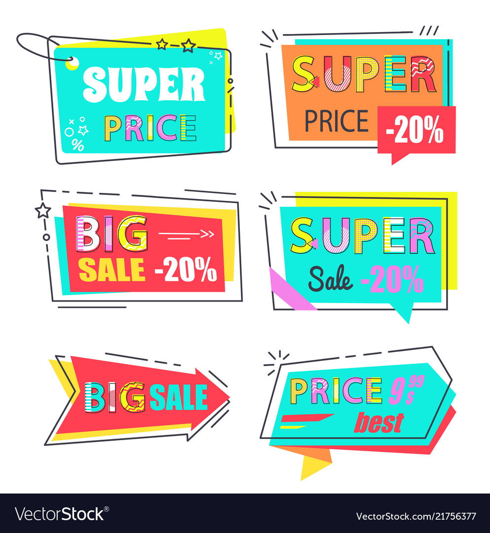 Super price big sale 20 set stickers flat style