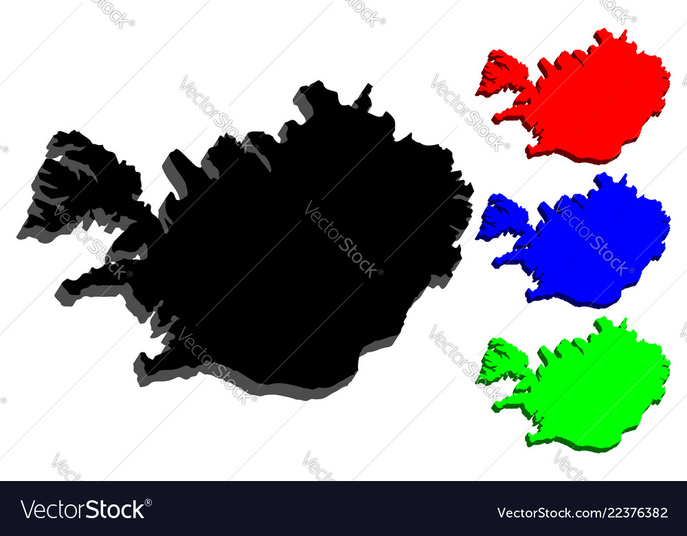 3d map of iceland Royalty Free Vector Image - VectorStock