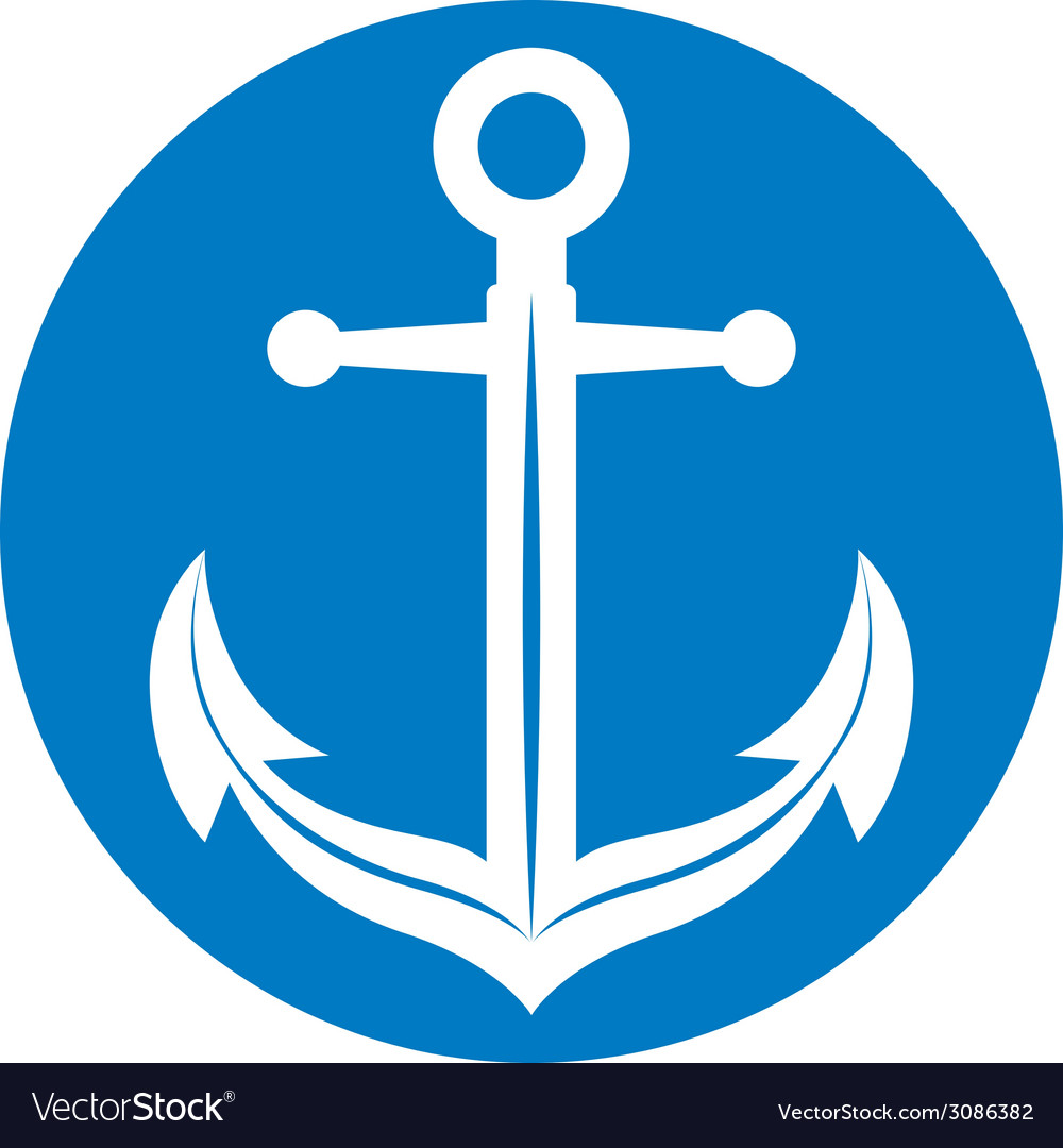 Anchor symbol monochrome icon vector image