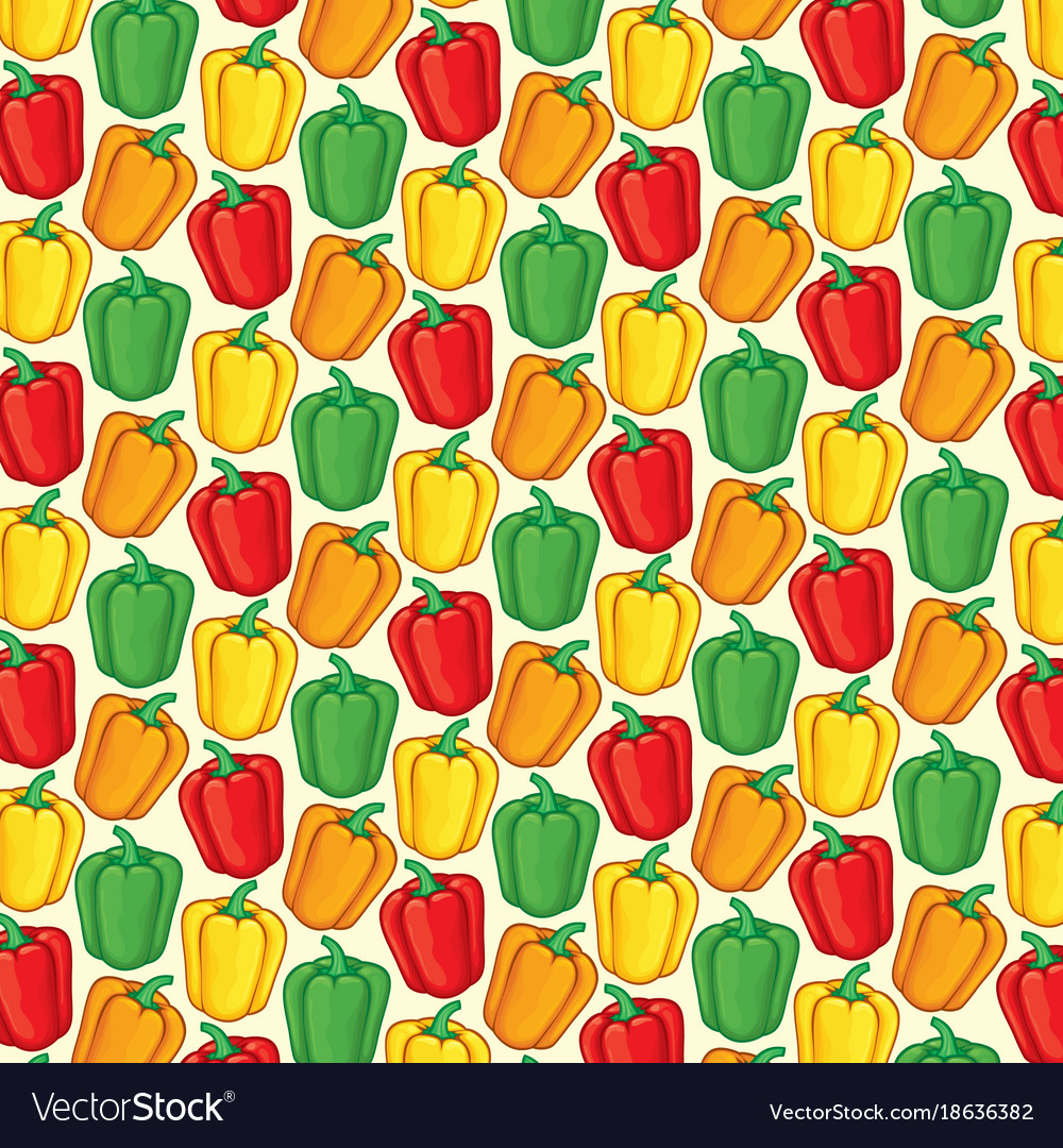 Background pattern with sweet bell peppers vector image