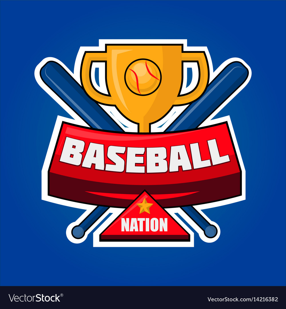 Baseball nation logotype with golden cup and