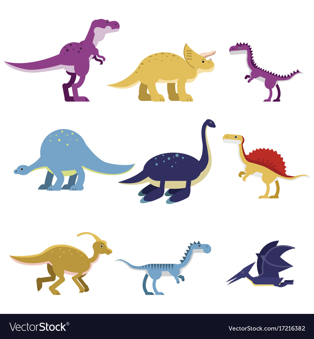 Cartoon dinosaur animals set cute prehistoric and