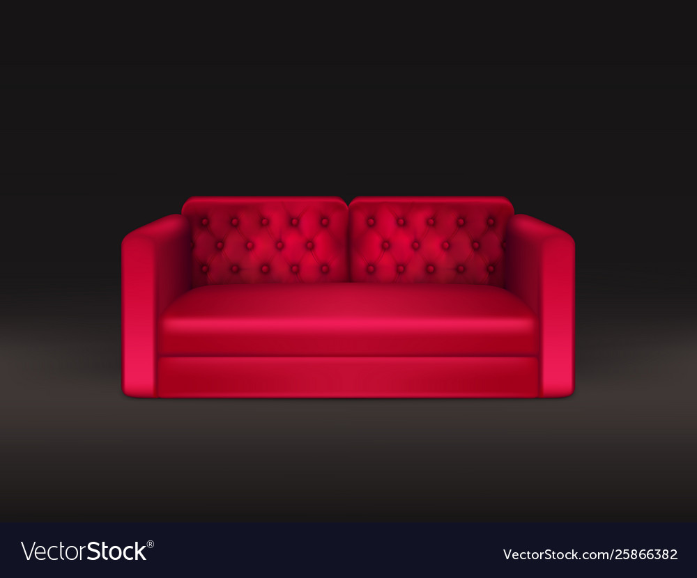 Classic sofa red leather realistic