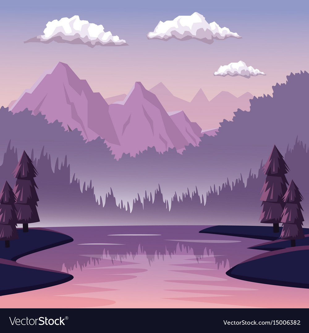 Colorful background with dawn landscape of