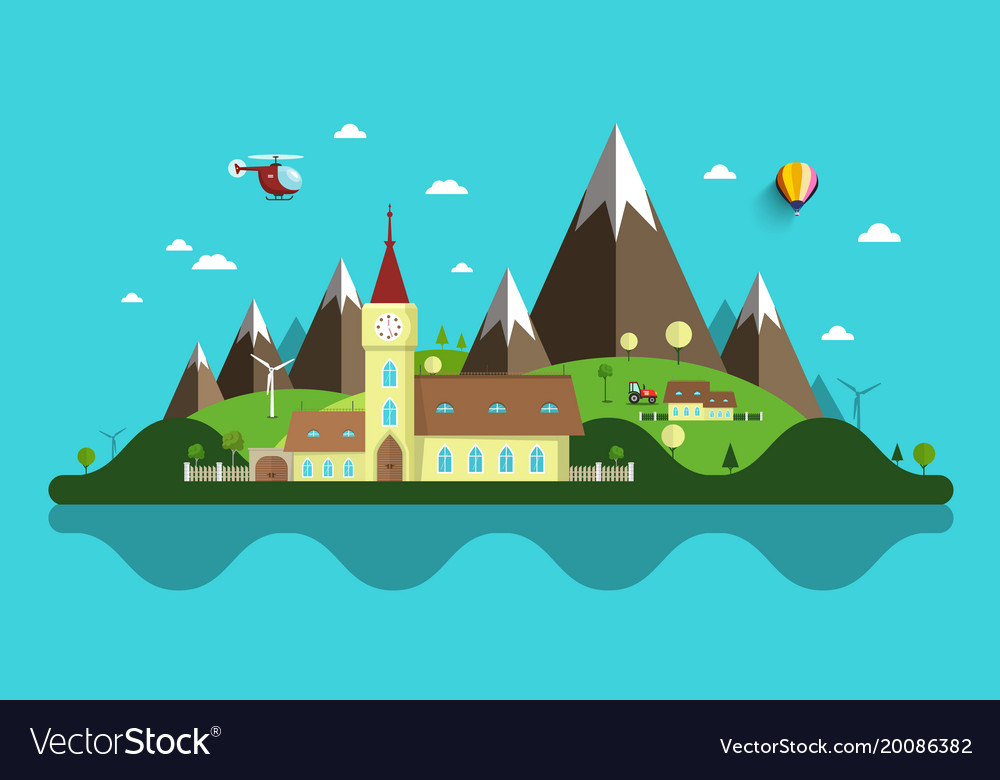Flat design landscape abstract rural scene with vector image