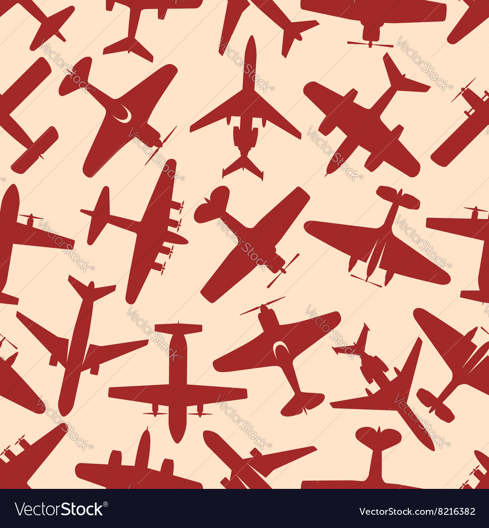 Flying red airplanes seamless pattern