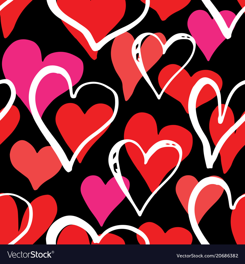 Heart symbol seamless pattern hand drawn sketch
