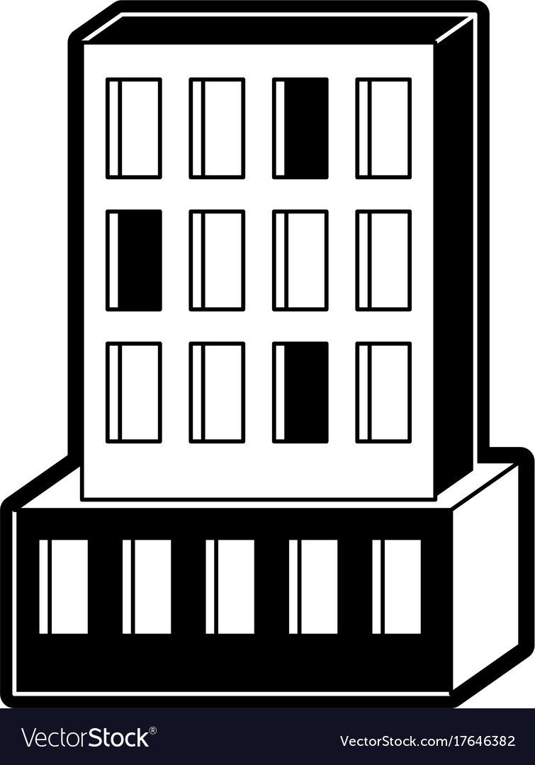 Hotel building icon black silhouette vector image