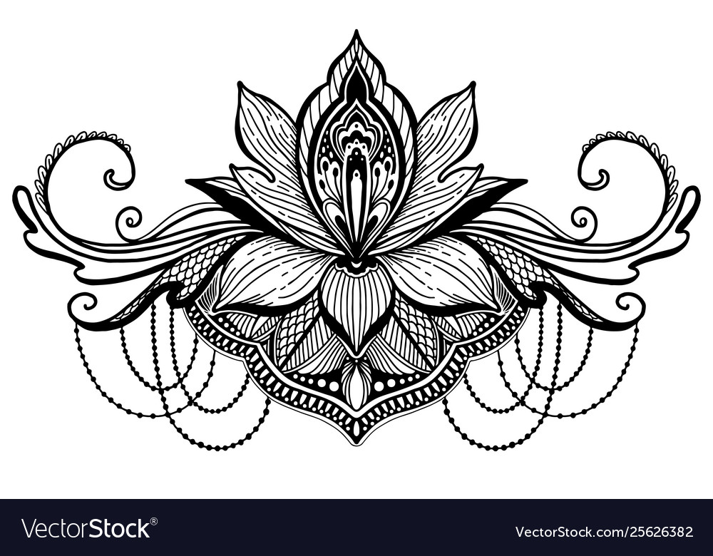 Lotus Flower Ethnic Symbol Black Color In White Vector Image