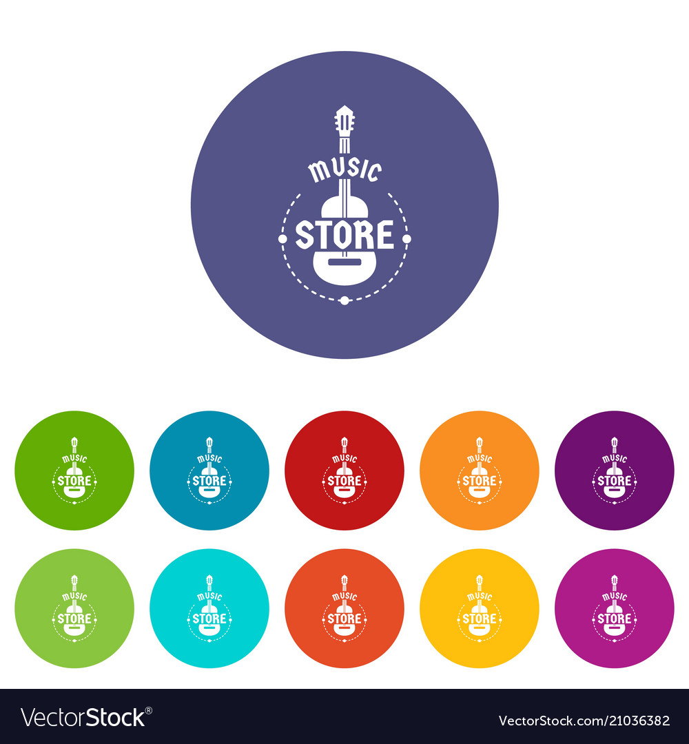 Music store icons set color