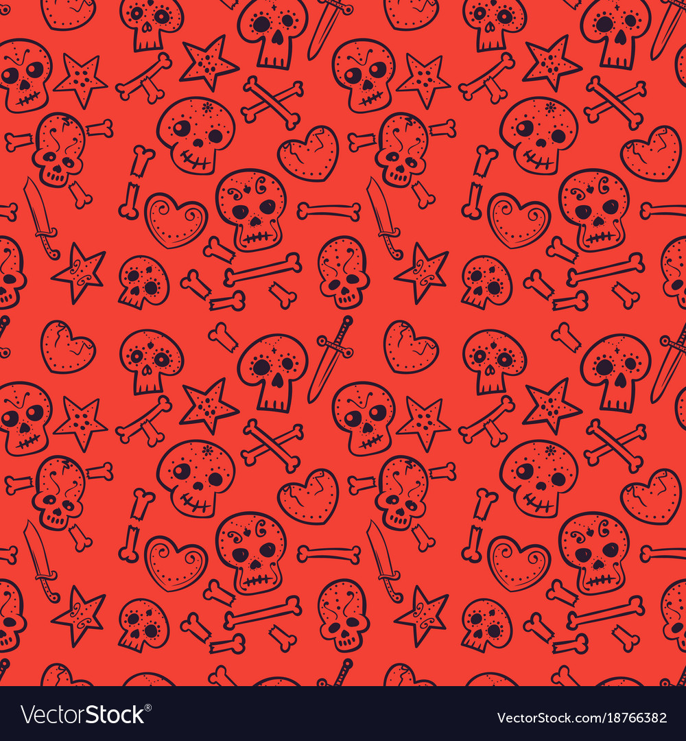 Pattern with skulls hearts seamless background