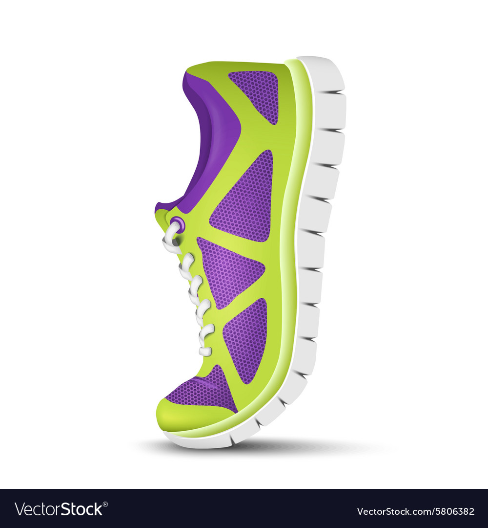 Realistic bright curved sport shoes for running vector image