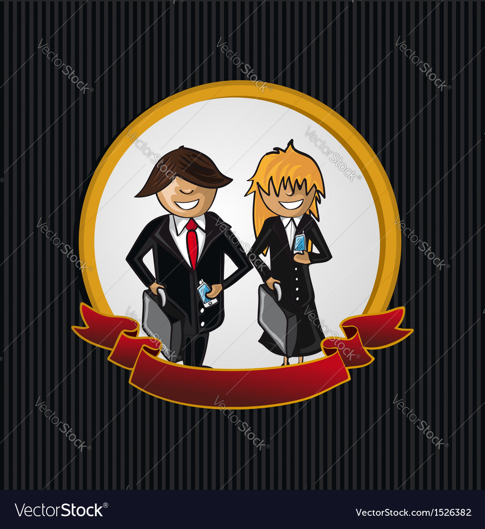 Service callcenter couple cartoon label icon vector image