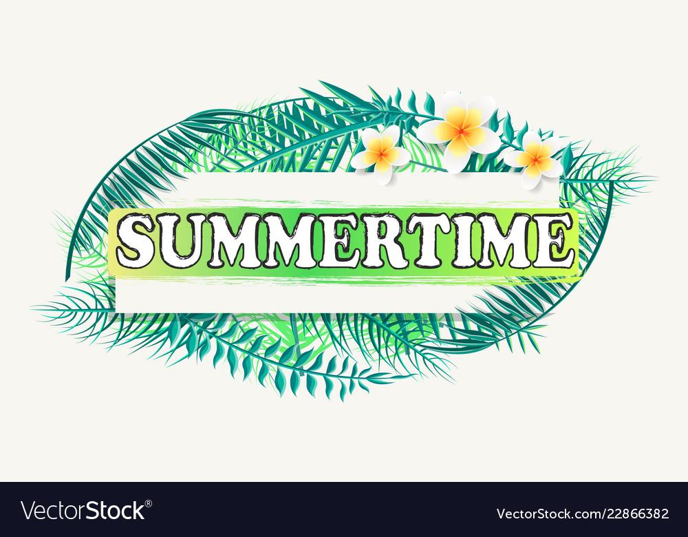 Summertime banner frame for text green palm tree