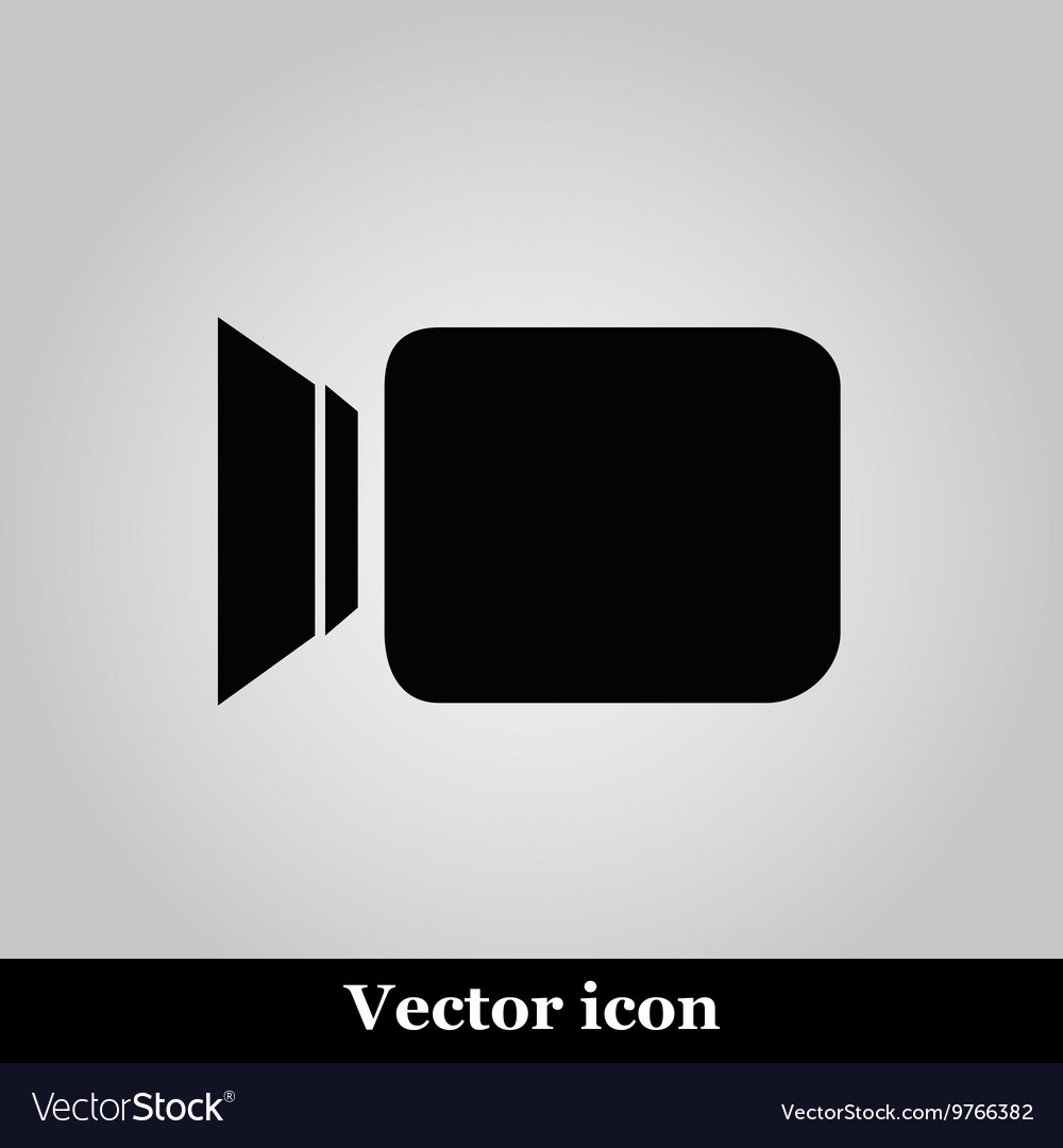 Video camera flat icon on grey background