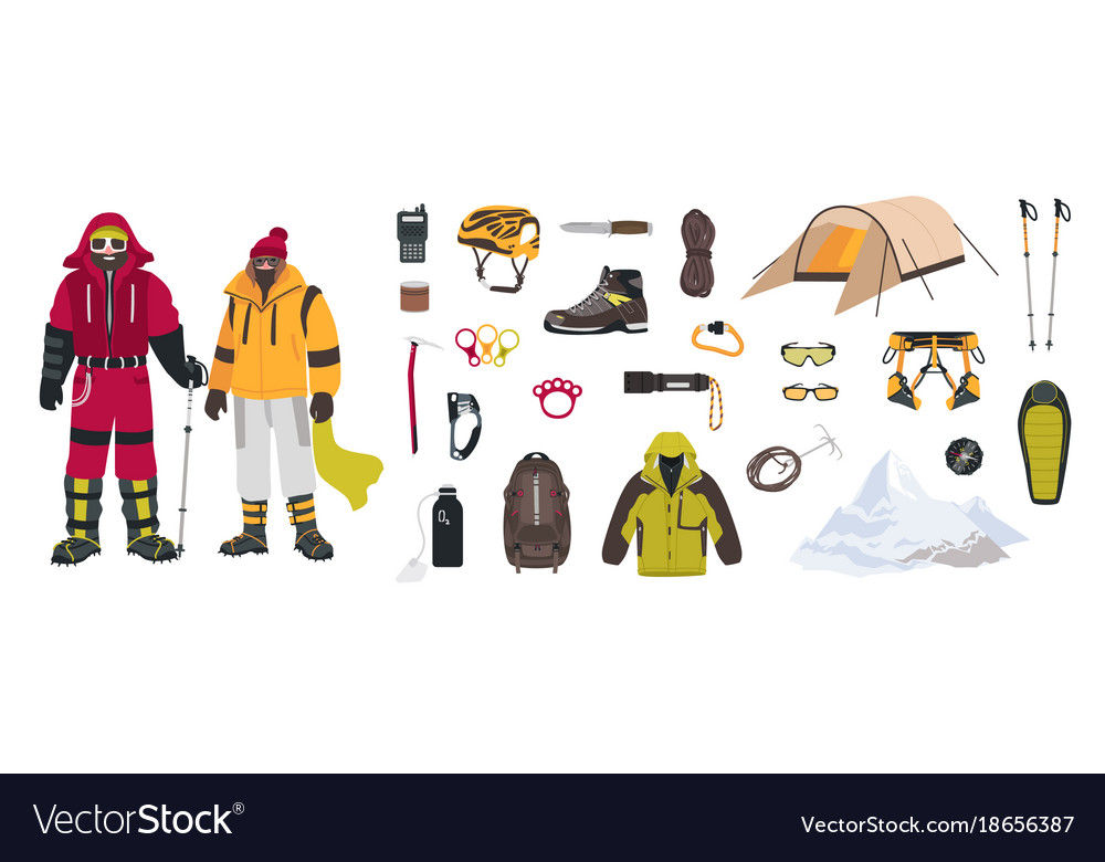 Bundle of mountaineering and touristic equipment