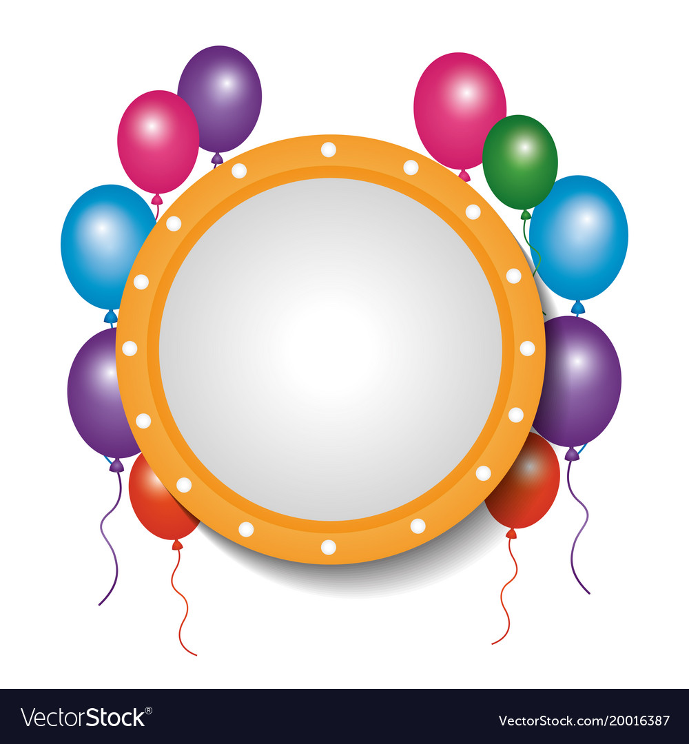 Card decoration empty frame balloons party vector image