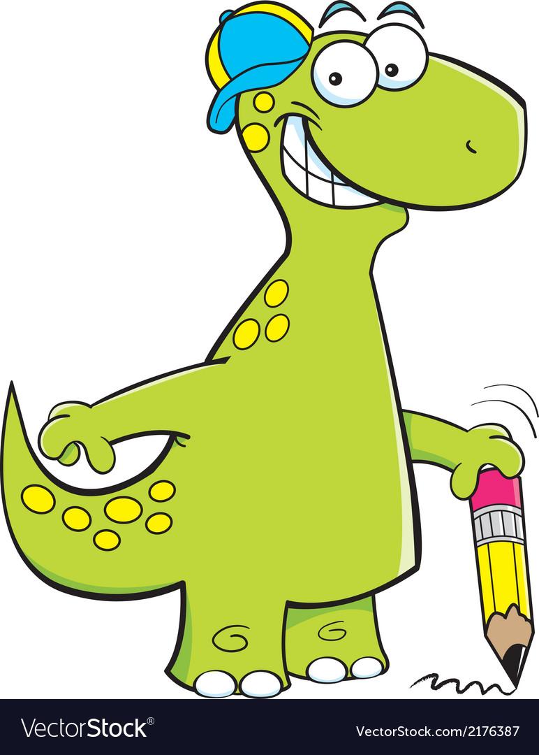 Cartoon Brontosaurus Holding a Pencil