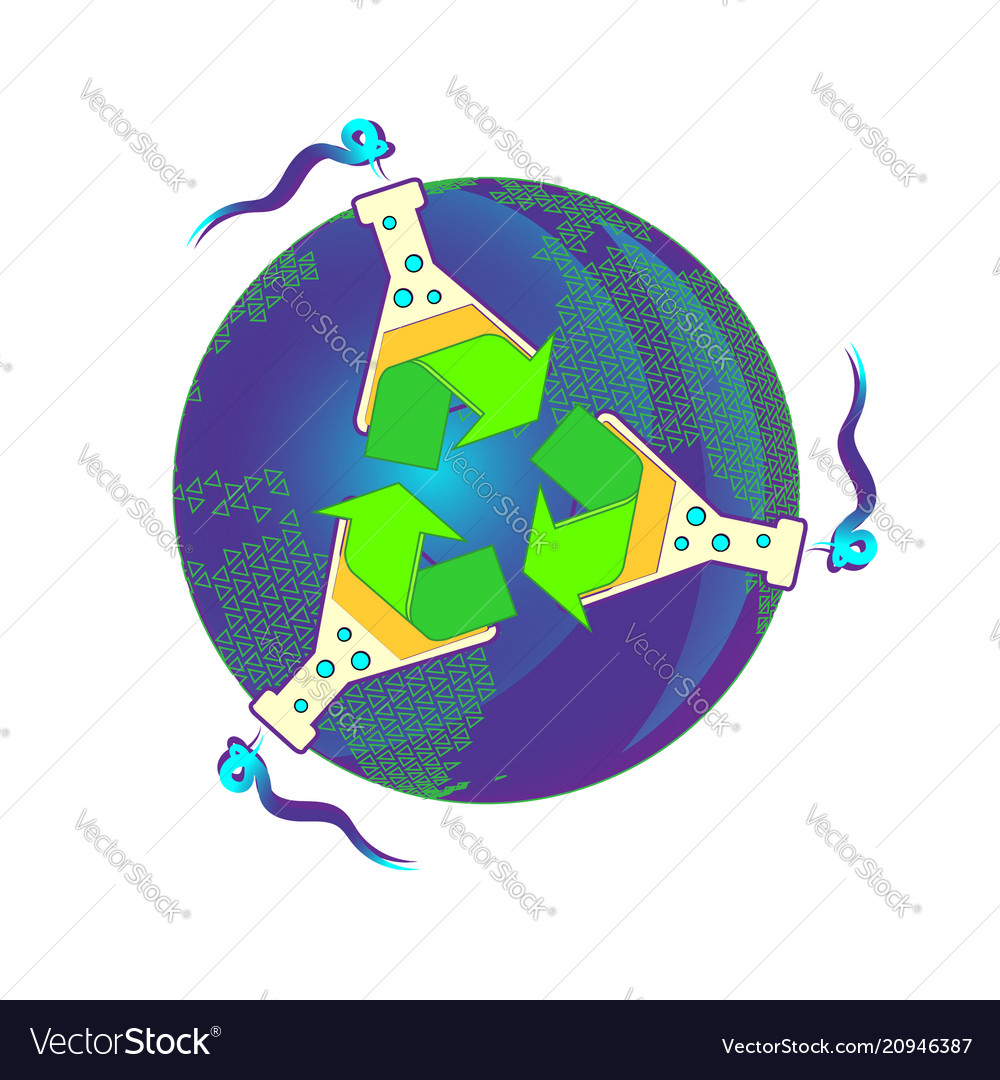Chemistry recycled eco icon set world chemical vector image