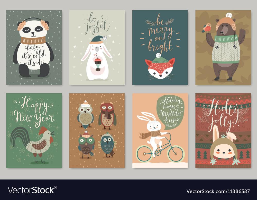 Christmas card set hand drawn style