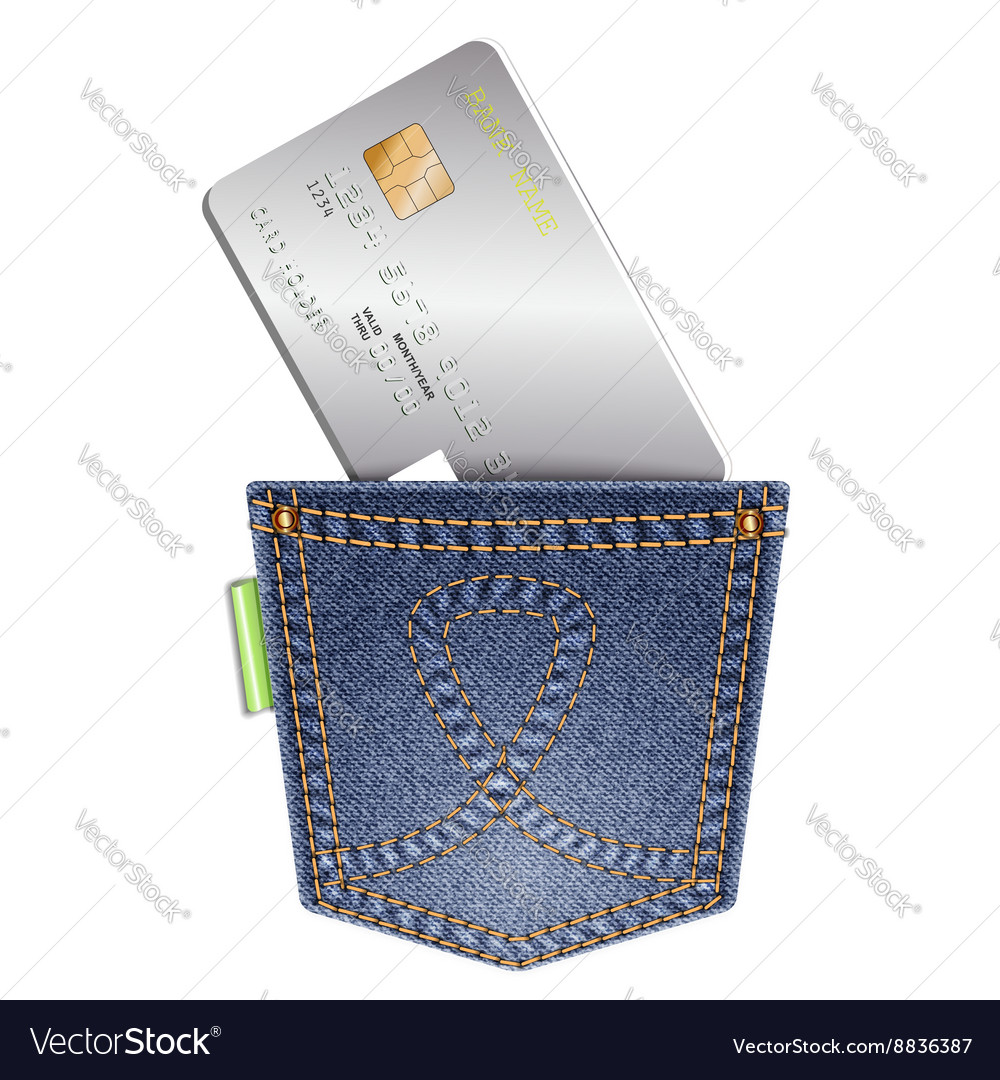 Denim pocket with credit card on a white vector image