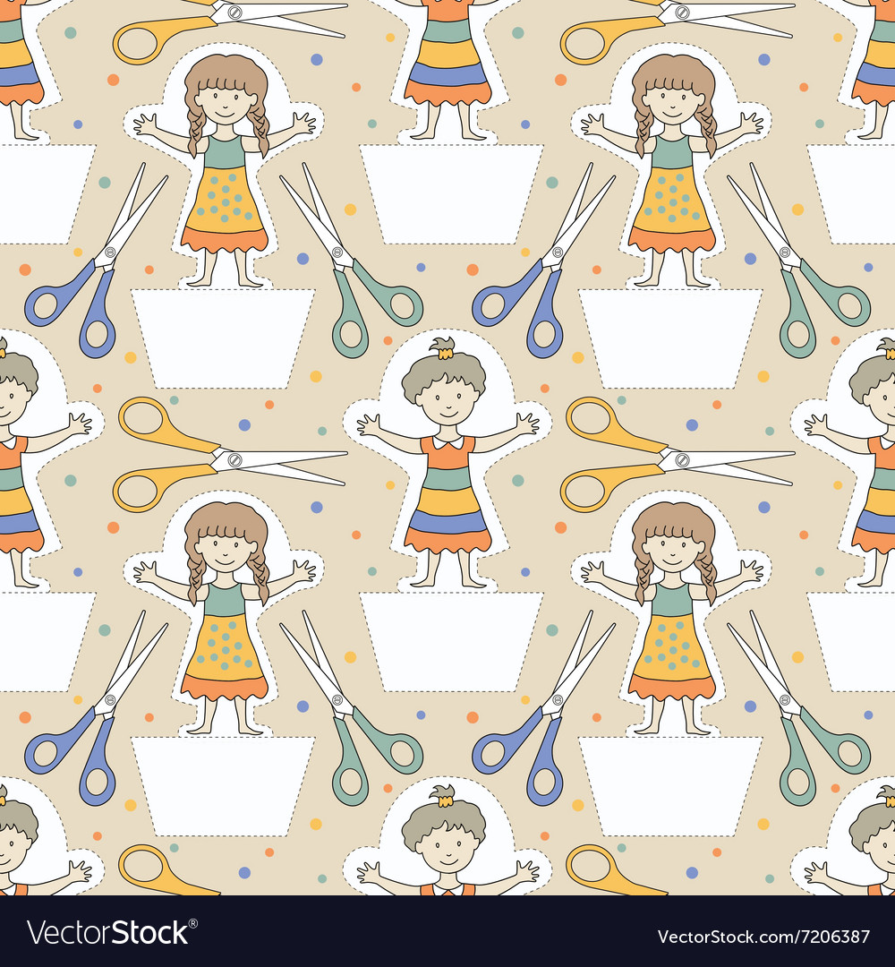 Dolls pattern 1 vector image