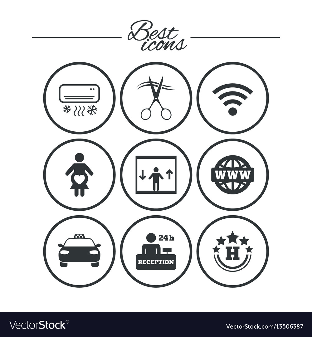 Hotel apartment service icons barbershop sign vector image