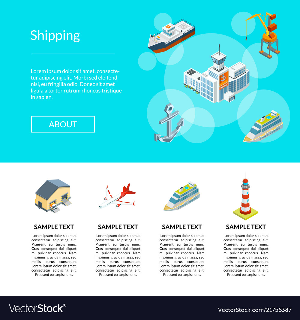 Isometric marine logistics and seaport vector
