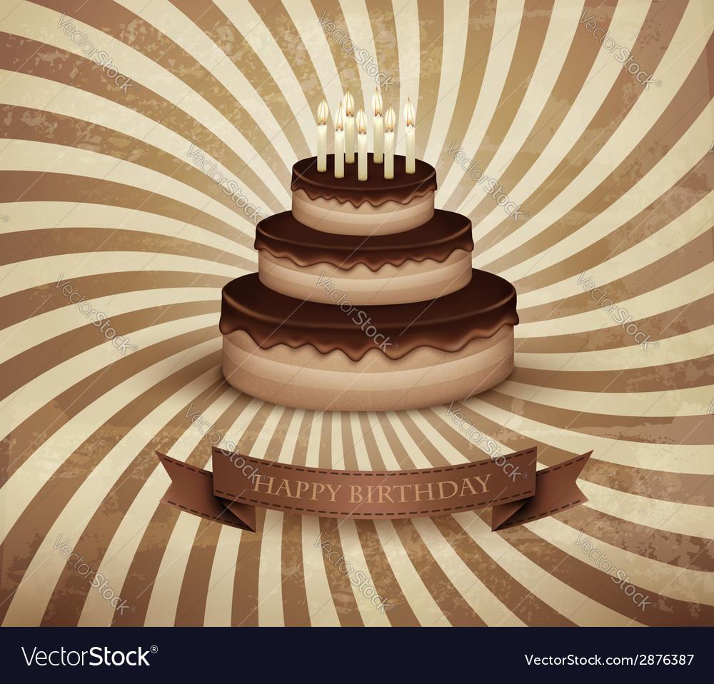 Amazing Retro Background With Birthday Chocolate Cake Vector Image Birthday Cards Printable Opercafe Filternl