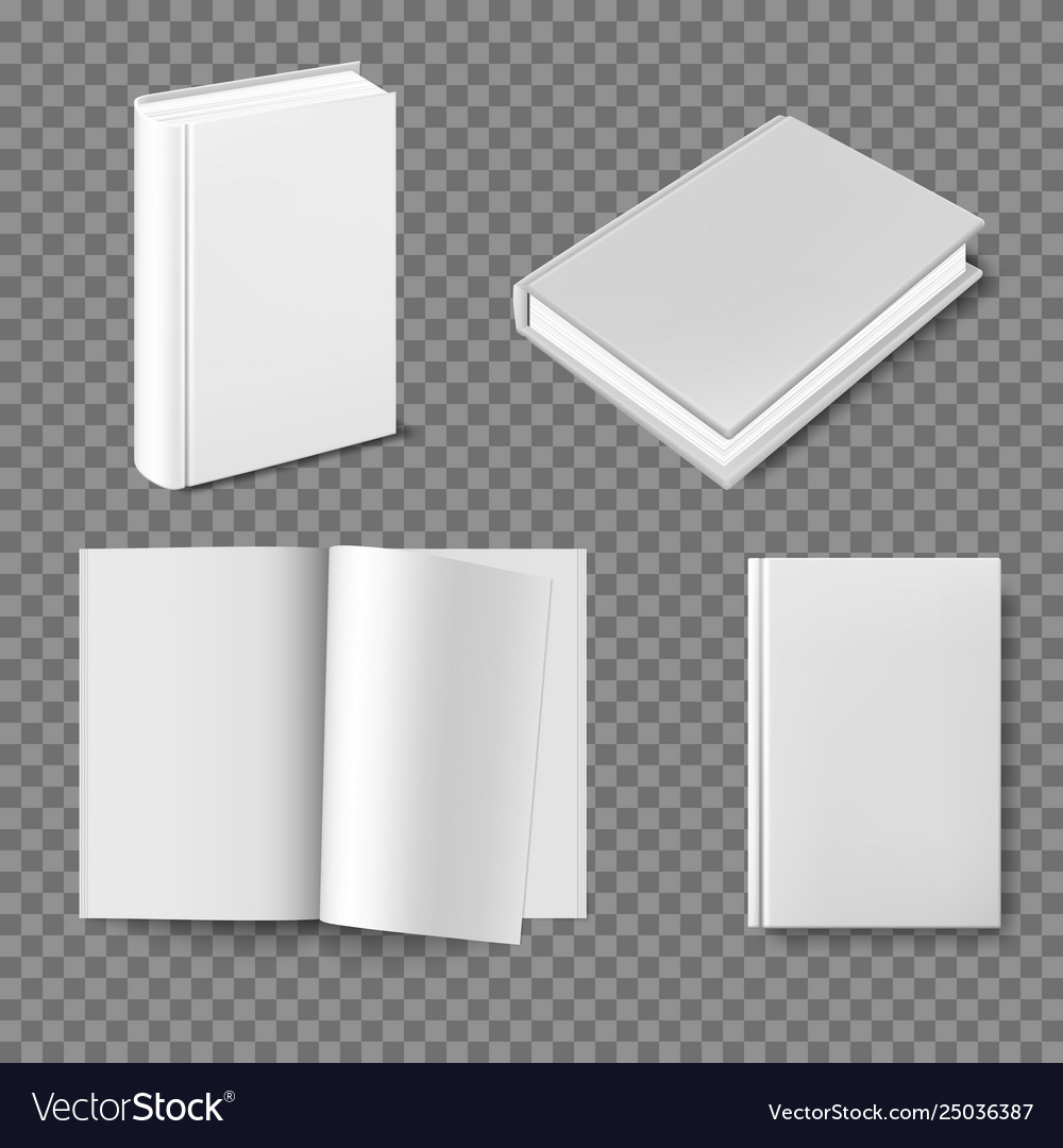 Set blank book cover template
