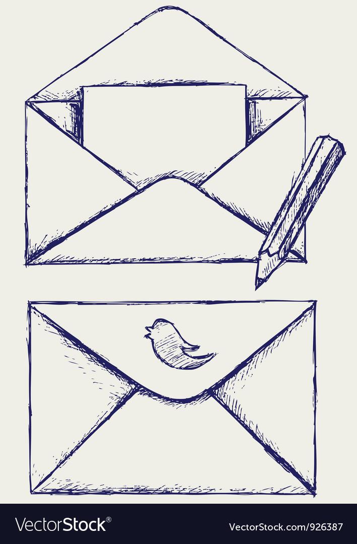 Sketch envelope vector image