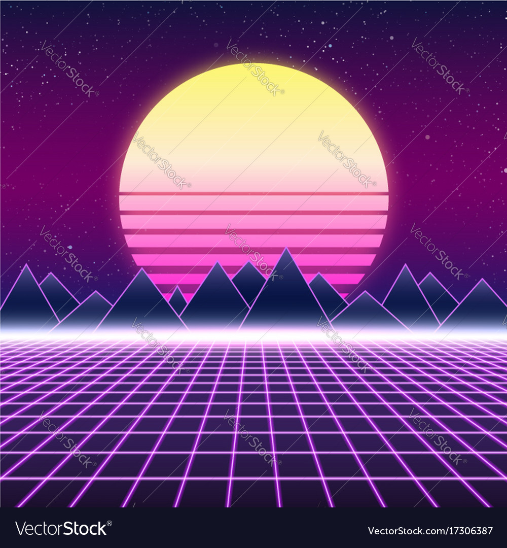 Synthwave retro design mountains and sun