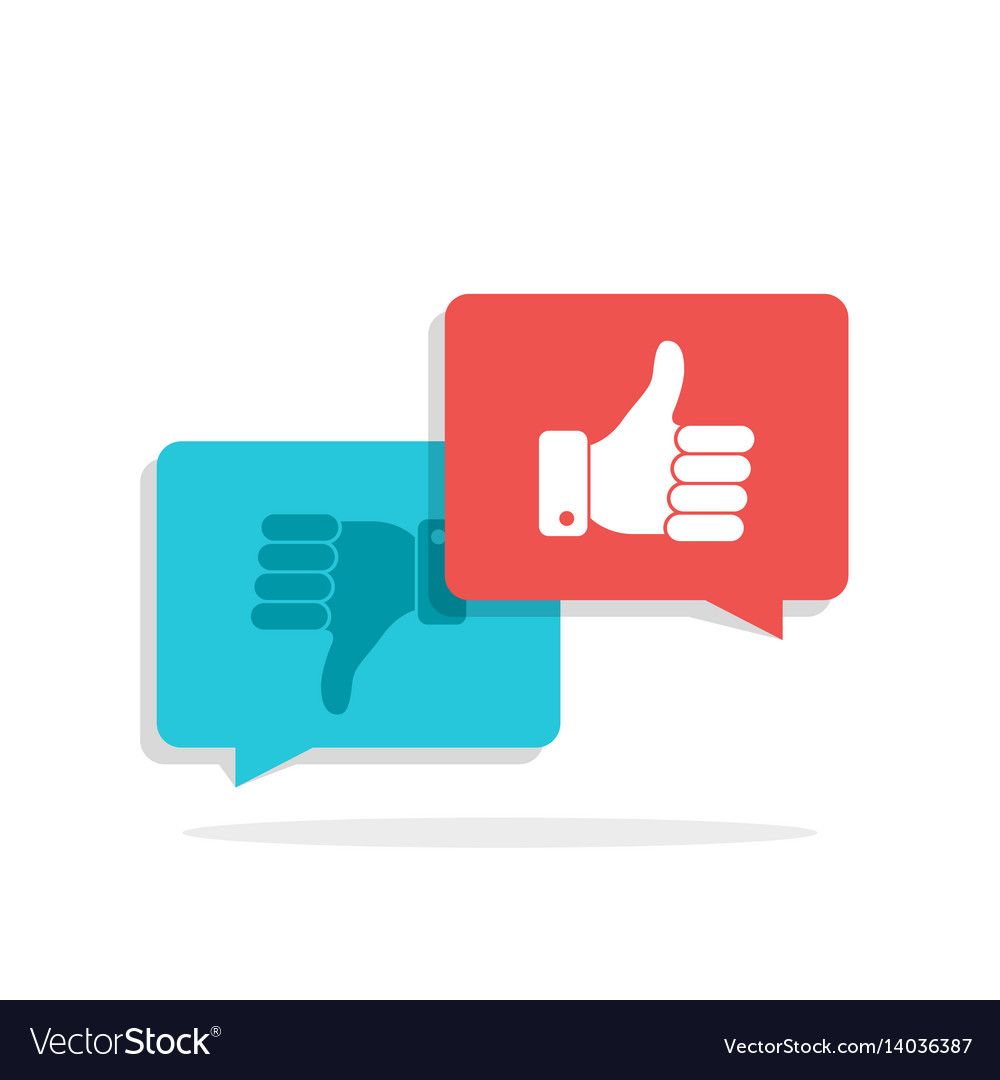 Thumbs up and thumbs down symbol in speech bubbles