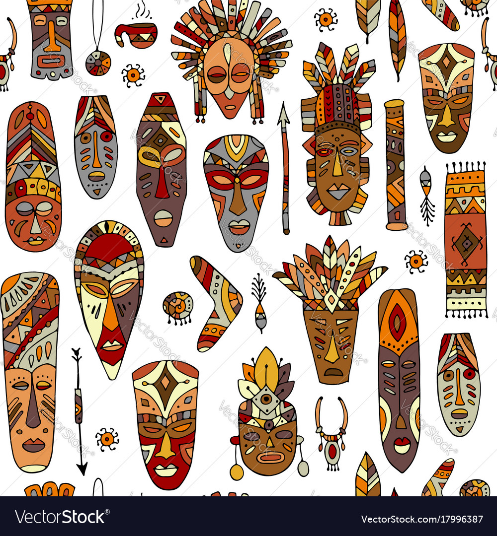 Tribal mask ethnic seamless pattern sketch for vector image