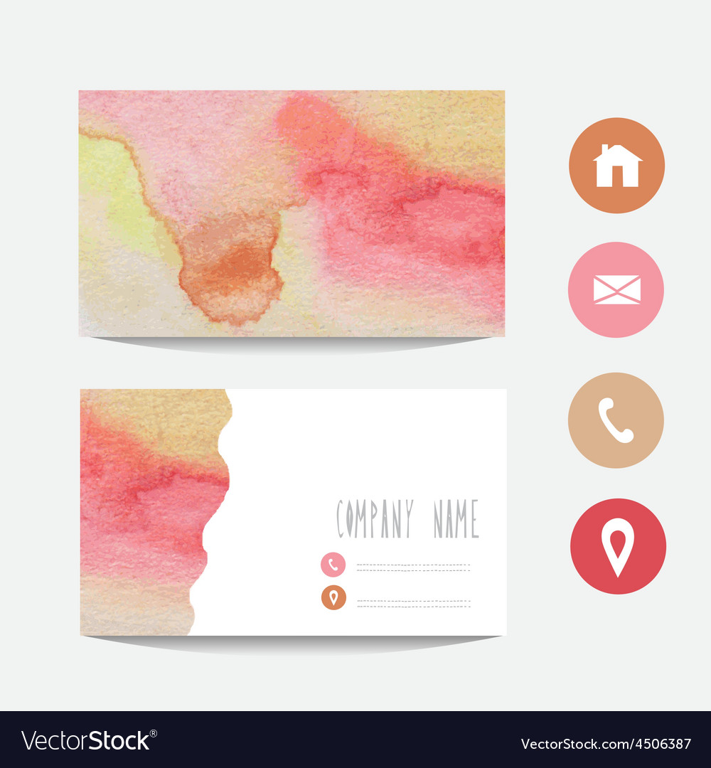 watercolor business card royalty free vector image