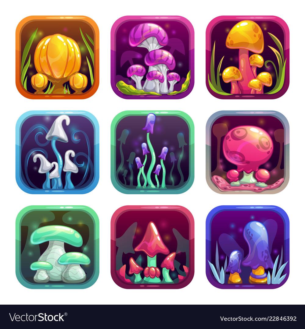 App icons with fantasy cartoon colorful shiny