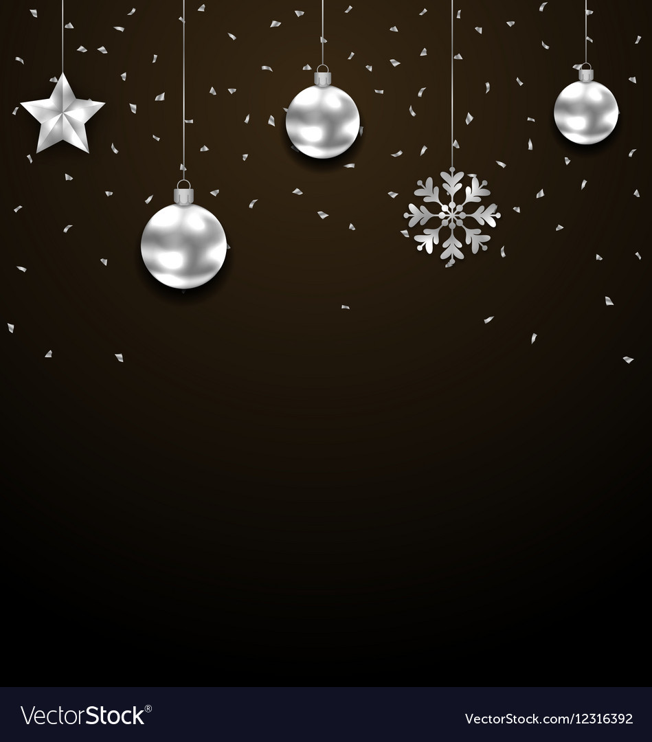 Dark Christmas.Christmas Dark Background With Silver Baubles