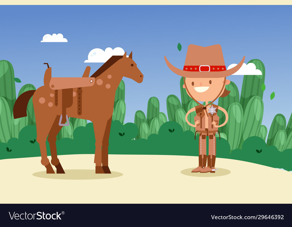 Cowboy sheriff cartoon character with horse wild