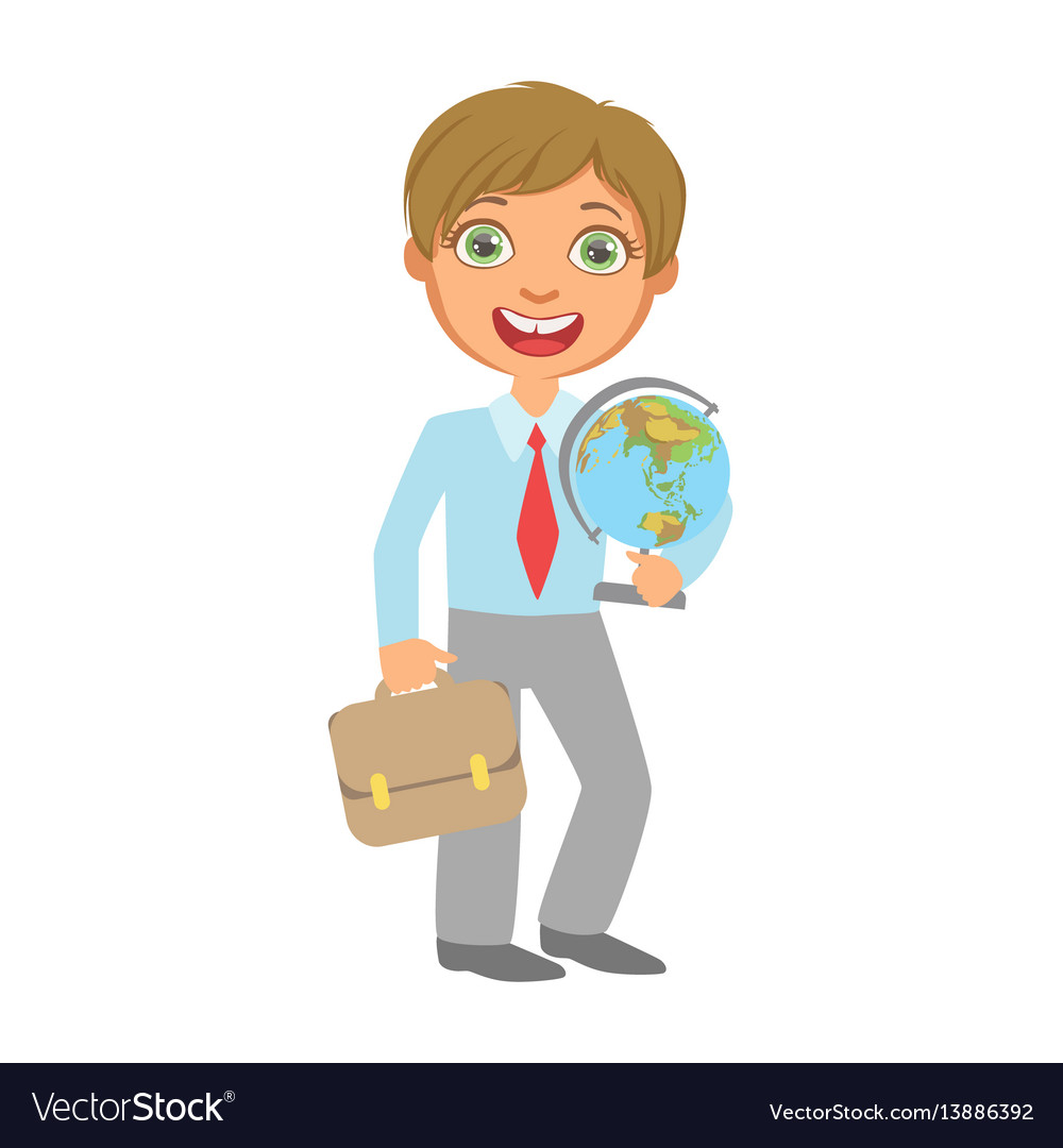 Elementary school student standing and holding vector image