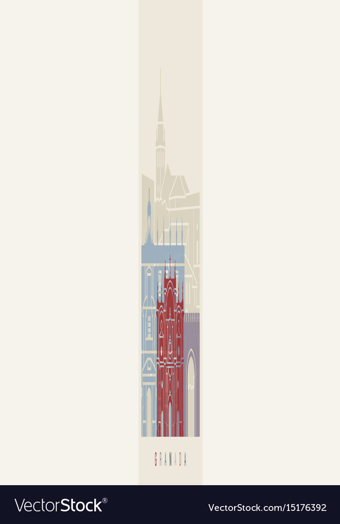 Granada skyline poster vector image