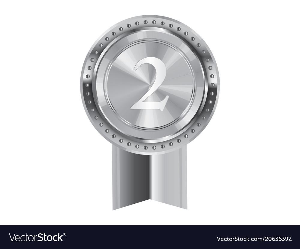 Isolated silver award medal ribbon badge vector image