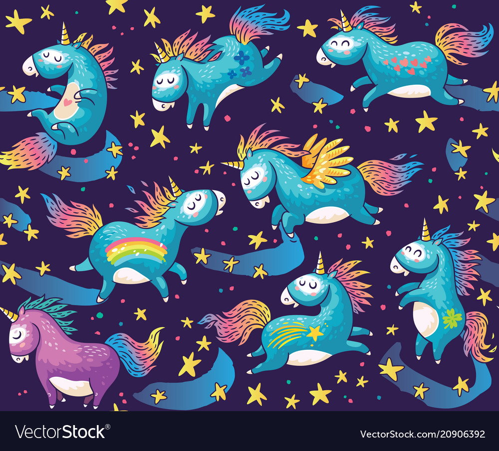 Pattern with cute unicorns in cartoon style