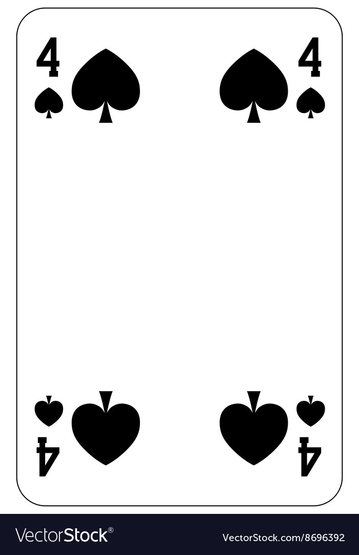 Poker playing card 4 spade vector image