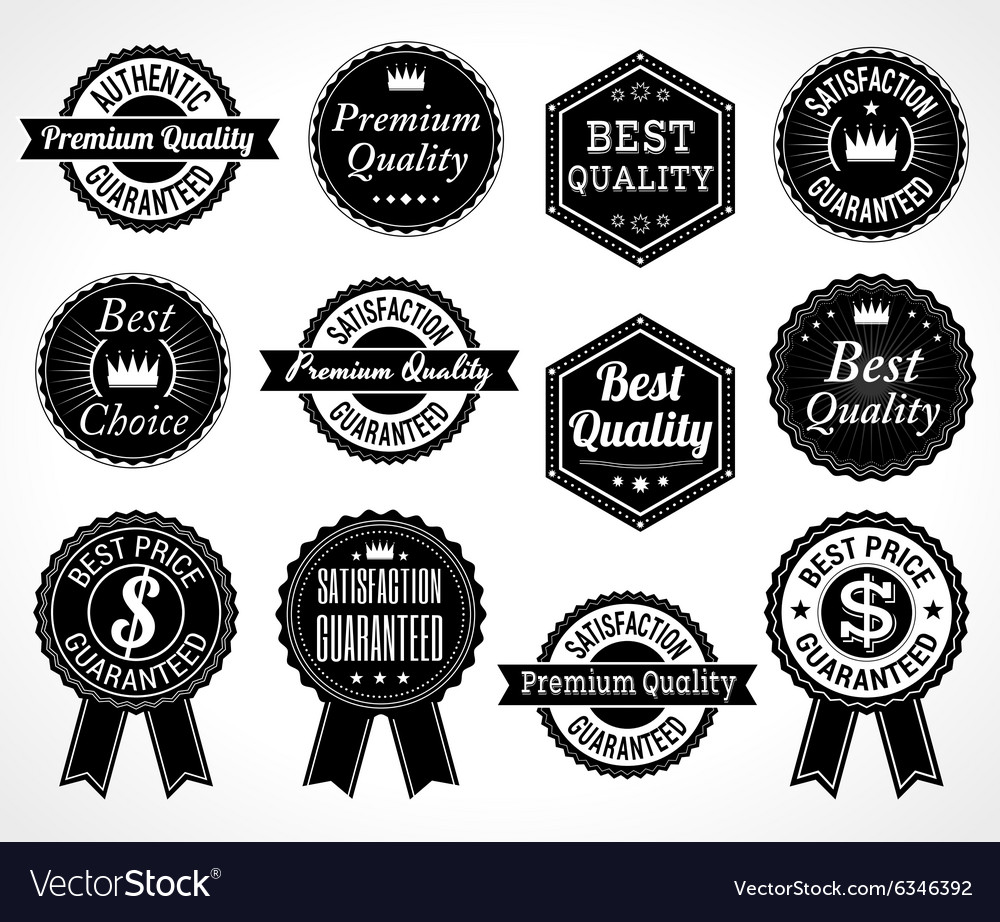Promotion Set of retro quality and price guarantee vector image