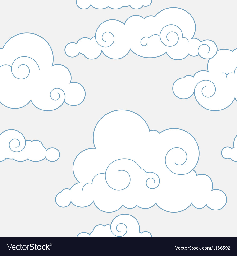 Seamless stylized clouds pattern