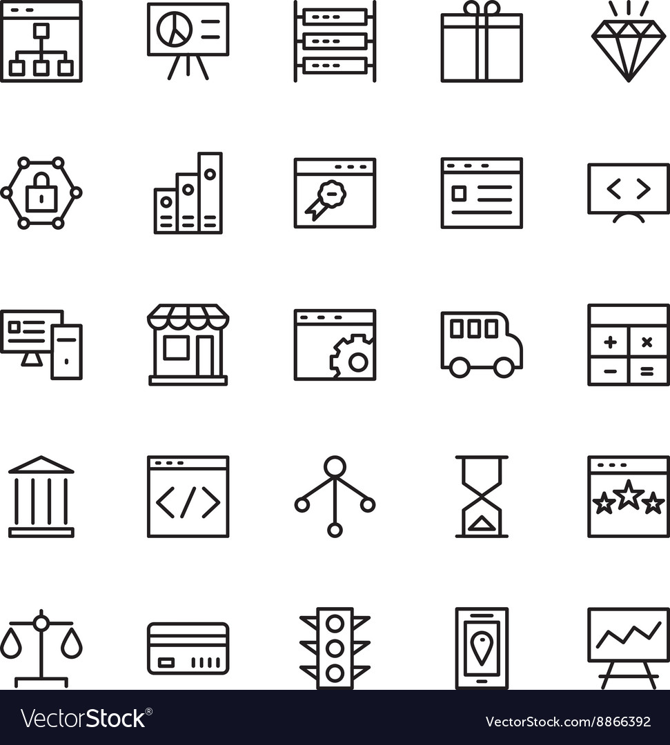 SEO and Marketing Outline Icons 2