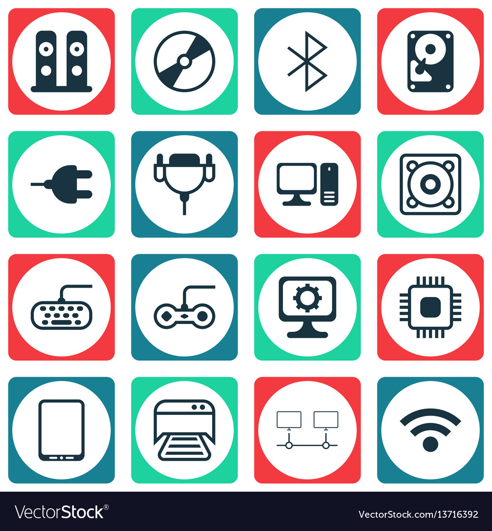 Set of 16 computer hardware icons includes chip vector image