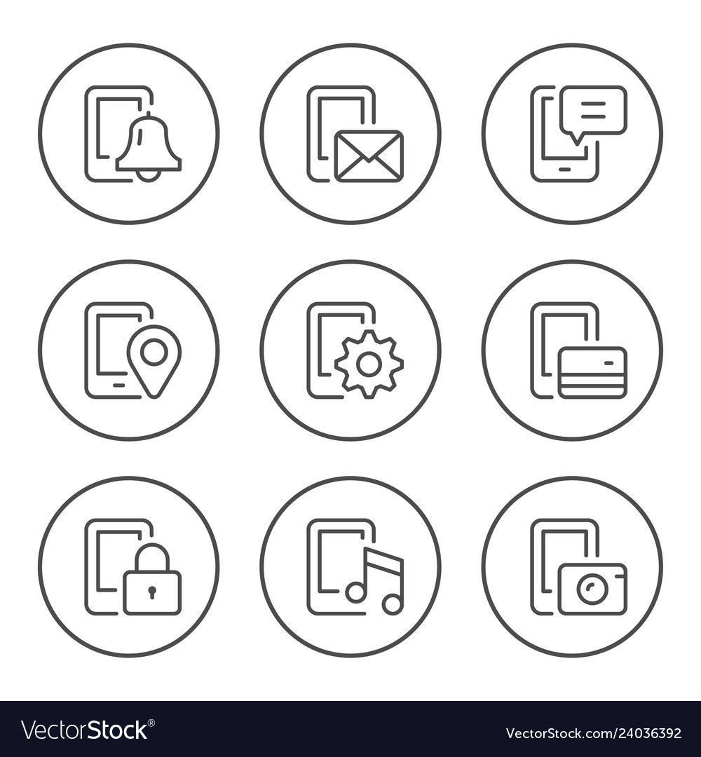 Set round line icons of mobile phone functions