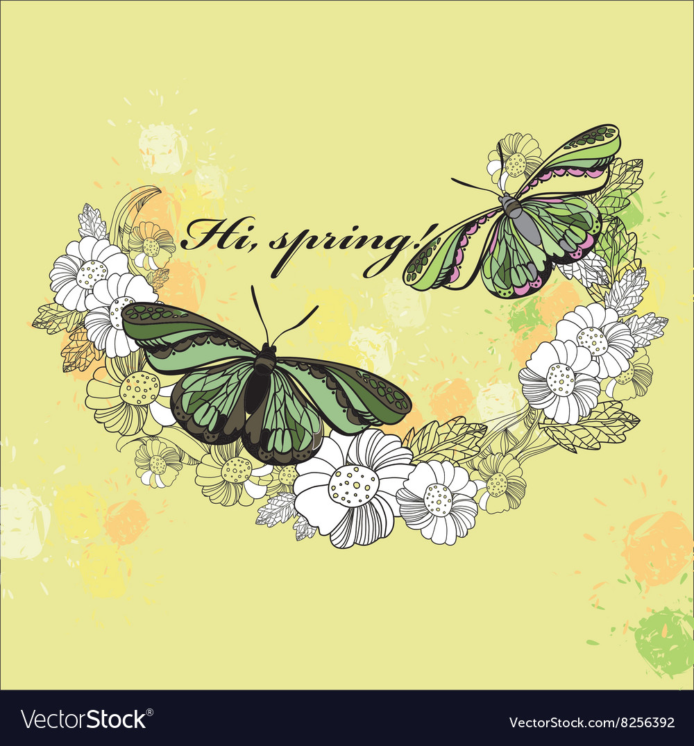 Spring card Hand drawn flower wreath with